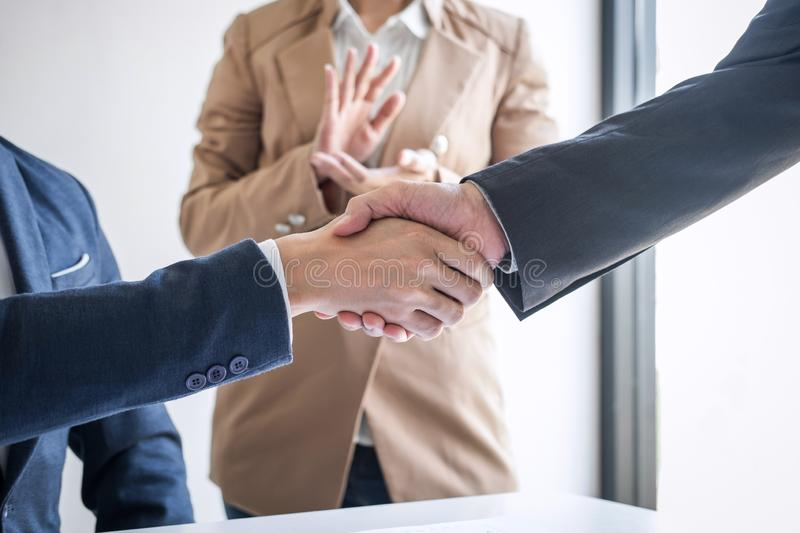 Meeting and greeting concept, Two confident Business handshake and business people after discussing good deal of Trading contract stock photography