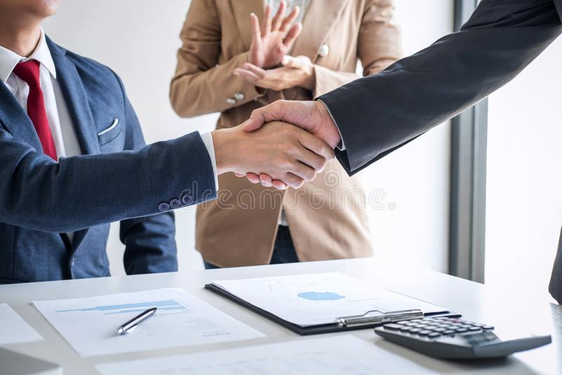 Meeting and greeting concept, Two confident Business handshake and business people after discussing good deal of Trading contract stock photo