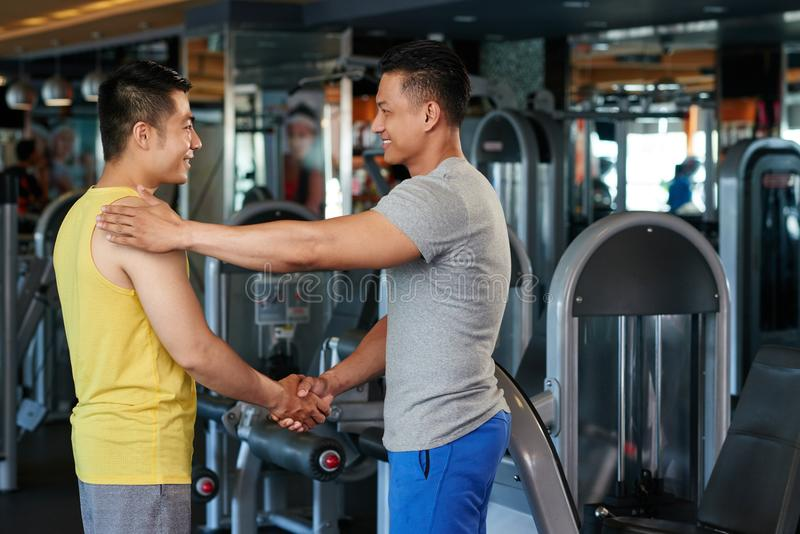 Meeting gym client royalty free stock image