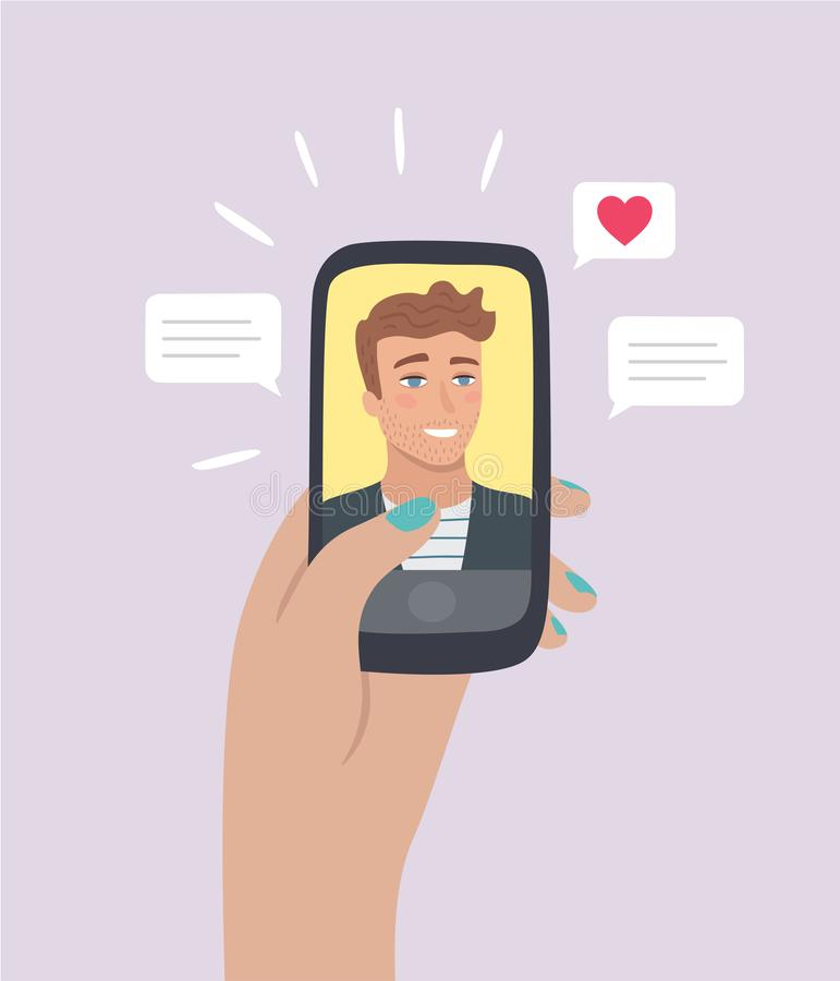 Meeting hot guy on dating app. Online dating app concept. Female hand holding smartphone with handsome guy Profile. Sending heart and text message. Vector stock illustration
