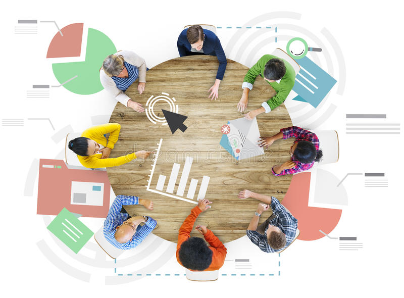 Meeting Information Statistics Analysis Report Concept stock illustration