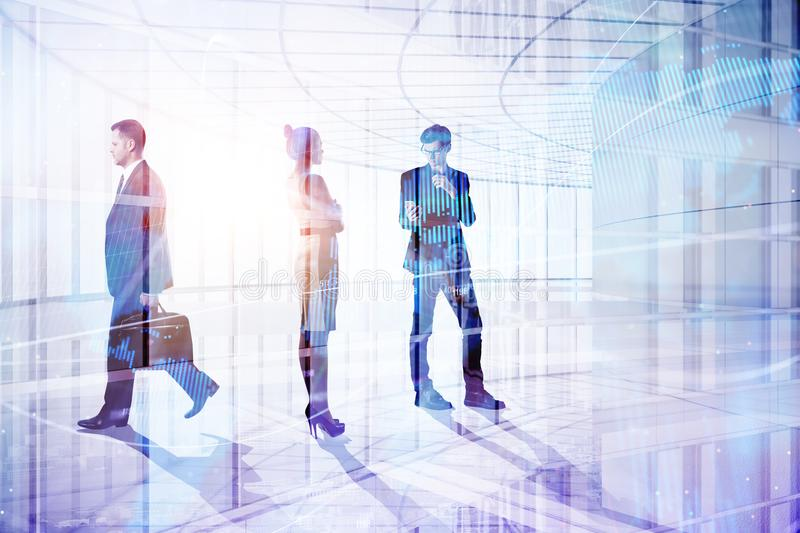 Meeting and job concept. Businesspeople in abstract office interior with daylight and city view. Meeting and job concept. Double exposure stock photos