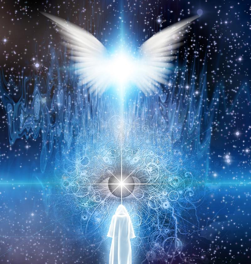 Meeting the Maker. Spiritual sci fi scene with angel and cloaked figure. Meeting the Maker. Human elements were created with 3D software and are not from any royalty free illustration