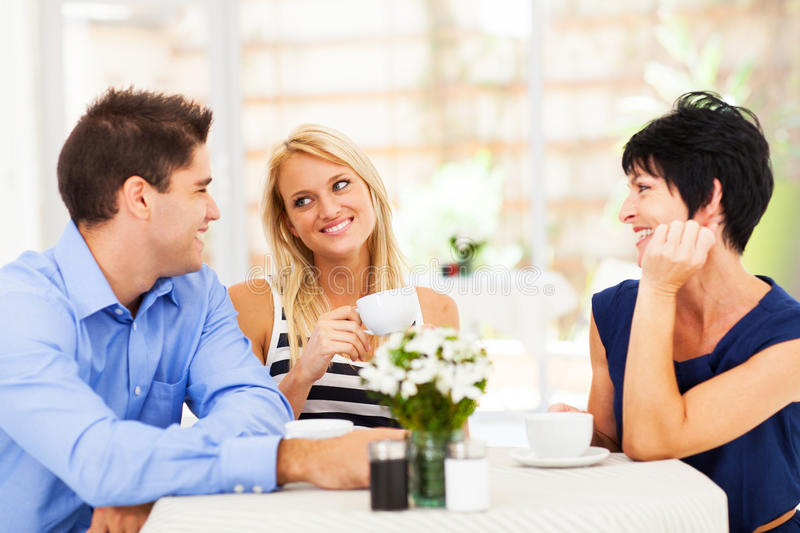 Meeting mother in law stock photo