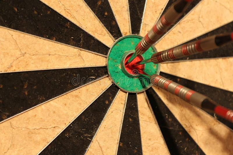 Meeting objectives - arrows in center target stock photos