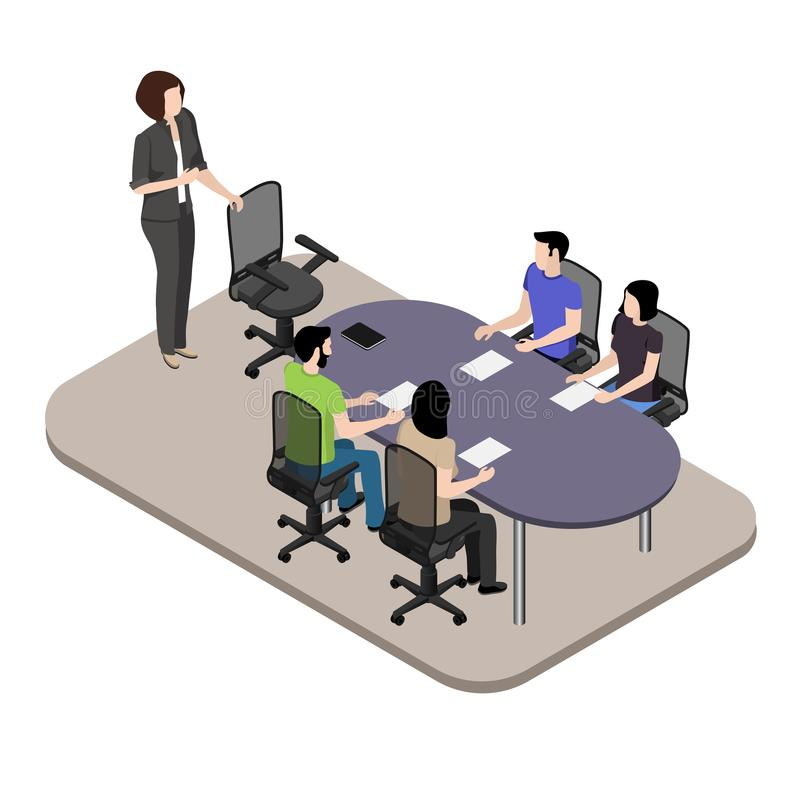 Meeting in the office, creative young people gathered for a meeting in the conference room to discuss working moments. Isometric image stock illustration