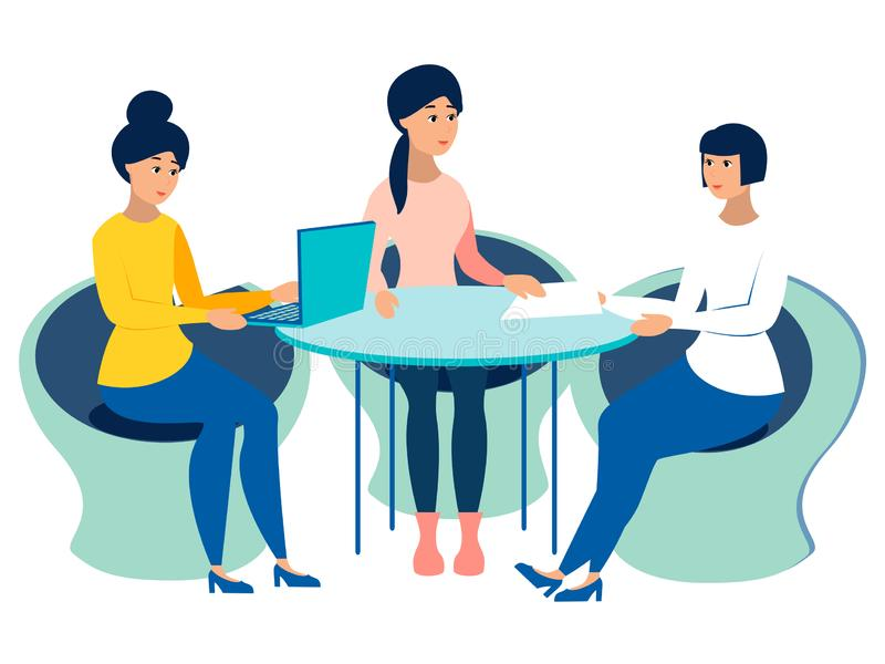 Meeting, office staff meeting. Work on one project, the conclusion of the contract. In minimalist style Cartoon flat vector illustration