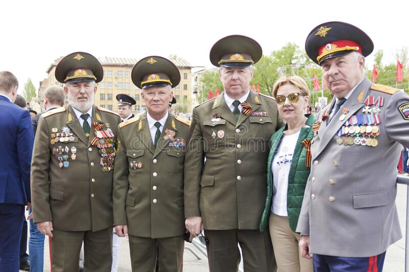 Meeting of old friends on celebration on annual Victory Day, May, 9, 2017 in Samara, Russia stock photos