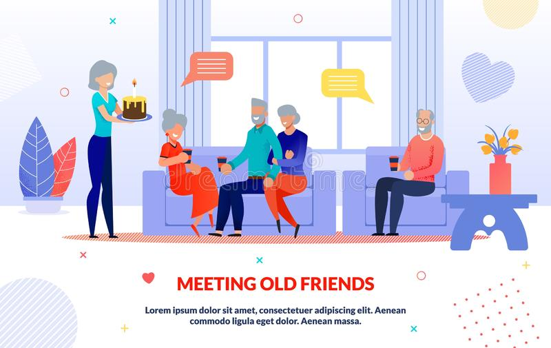 Meeting Old Friends and Party Time Flap Poster royalty free illustration