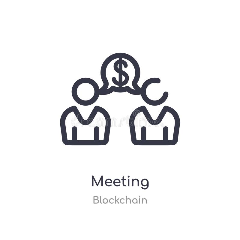 meeting outline icon. isolated line vector illustration from blockchain collection. editable thin stroke meeting icon on white royalty free illustration