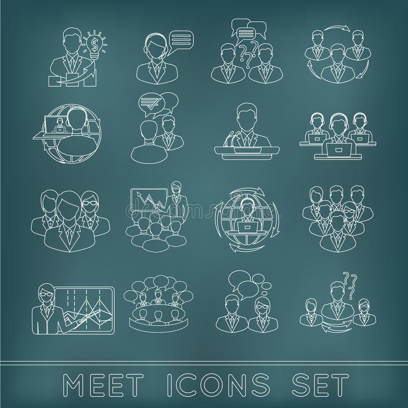 Meeting outline icons set stock illustration