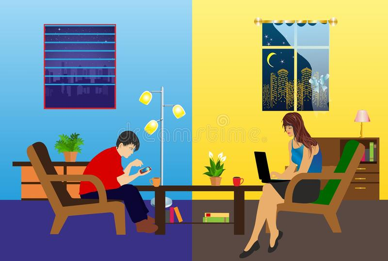 Meeting over the internet. Young people communicate using the Internet royalty free illustration
