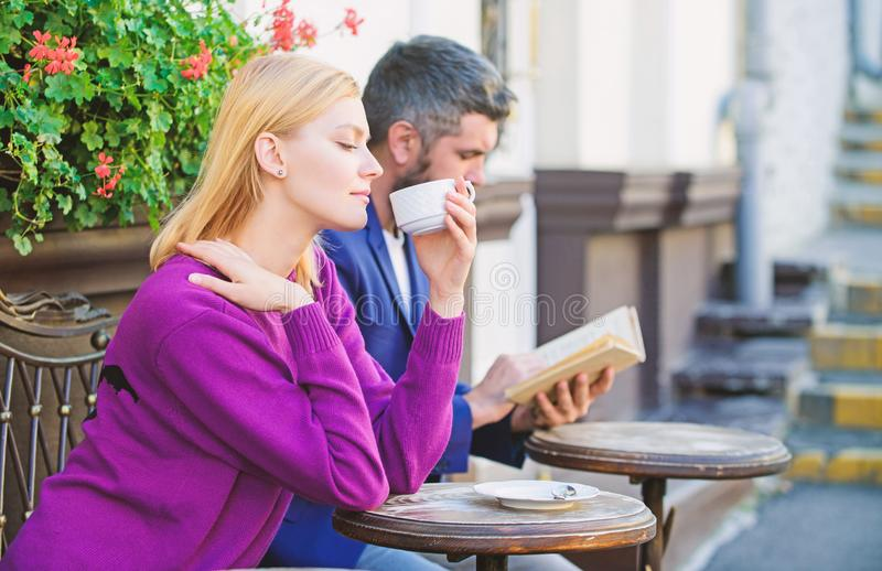Meeting people first date. Couple terrace drinking coffee. Casual meet acquaintance public place. Apps normal way to. Meet and connect with other single people stock photography