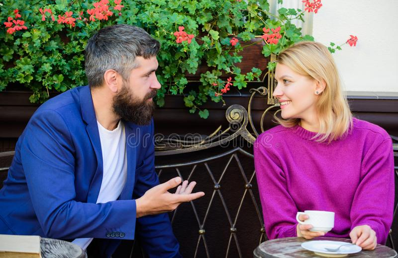 Meeting people first date. Couple terrace drinking coffee. Casual meet acquaintance public place. Romantic couple. Normal way to meet and connect with other royalty free stock photos
