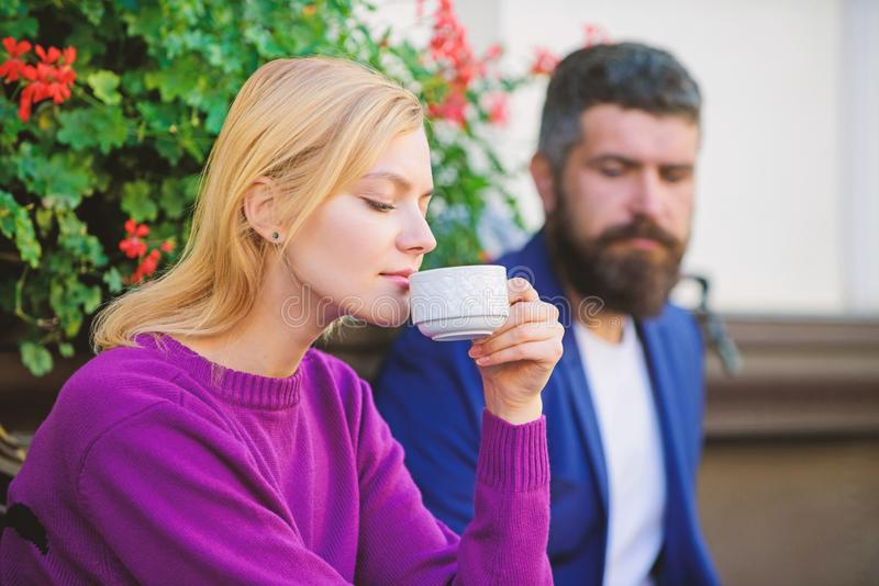 Meeting people first date. Strangers meet become acquaintances. Apps normal way to meet and connect with other single. People. Couple terrace drinking coffee royalty free stock photo