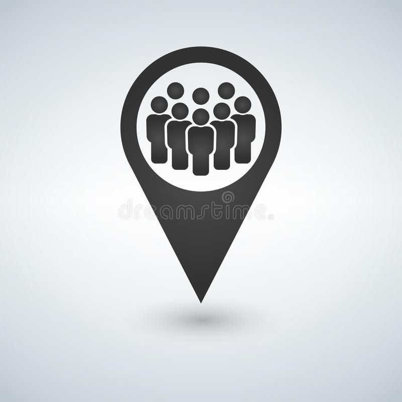 Meeting point location icon. Friends nearby. Drop shadow gps mark silhouette symbol. Group of people inside pinpoint. Vector isola royalty free illustration