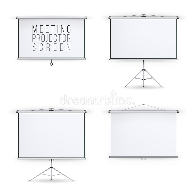 Meeting Projector Screen Vector Set. White Board Presentation Conference With Tripod And Hanging. Empty White Board Presentation A. Nd Showing Your Project stock illustration