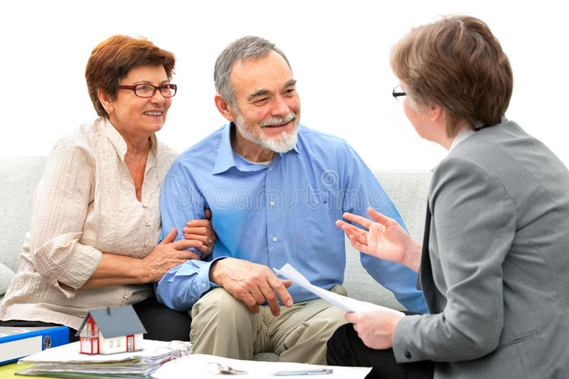 Meeting with real estate agent stock images