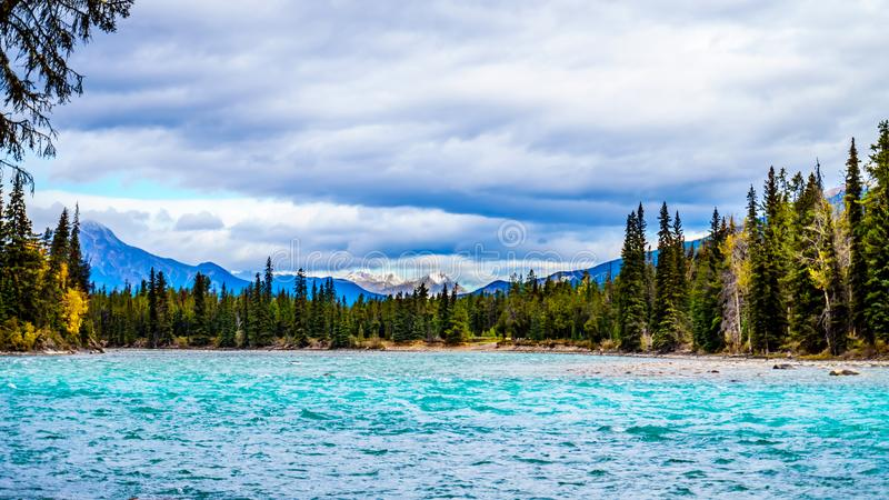 The Meeting of the Rivers location where the Athabasca River and the Whirlpool River meet in Jasper National Park. In the Canadian Rocky Mountains in the stock photo