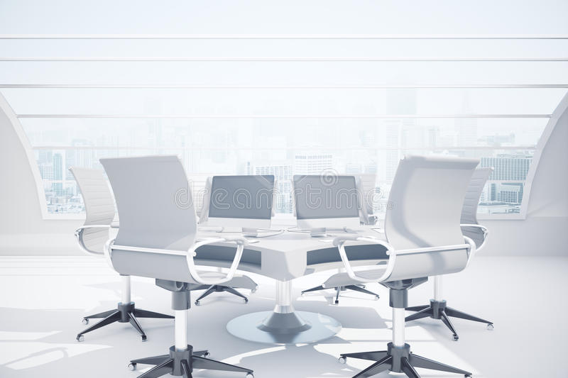 Meeting room. Abstract mirror reflected meeting table with blank pc screen in the middle of concrete room with panoramic city view. Mock up, 3D Rendering stock illustration
