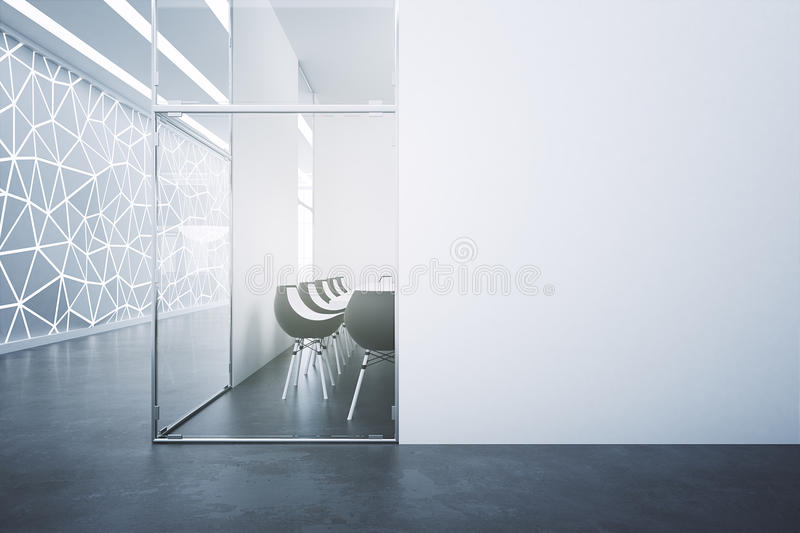 Meeting room with blank poster stock illustration