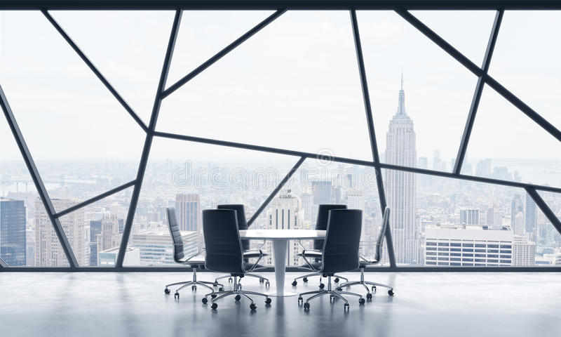 A meeting room in a bright contemporary panoramic office space with New York city view. The concept of highly professional financi. Al or legal services. 3D royalty free illustration