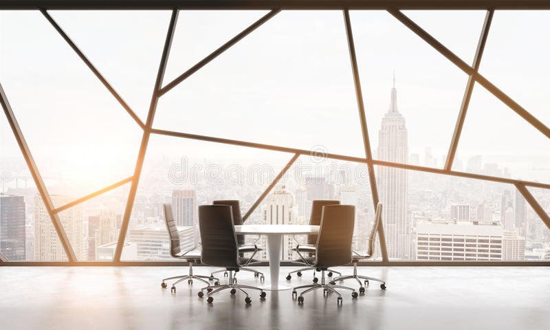 A meeting room in a bright contemporary panoramic office space with New York city view. The concept of highly professional financi. Al or legal services. 3D stock illustration