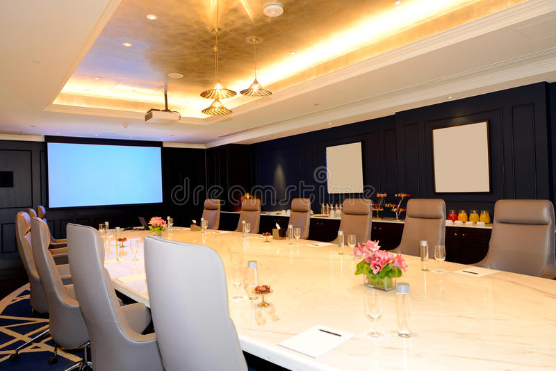 The meeting room interior at luxury hotel. Ras Al Khaimah, UAE royalty free stock images