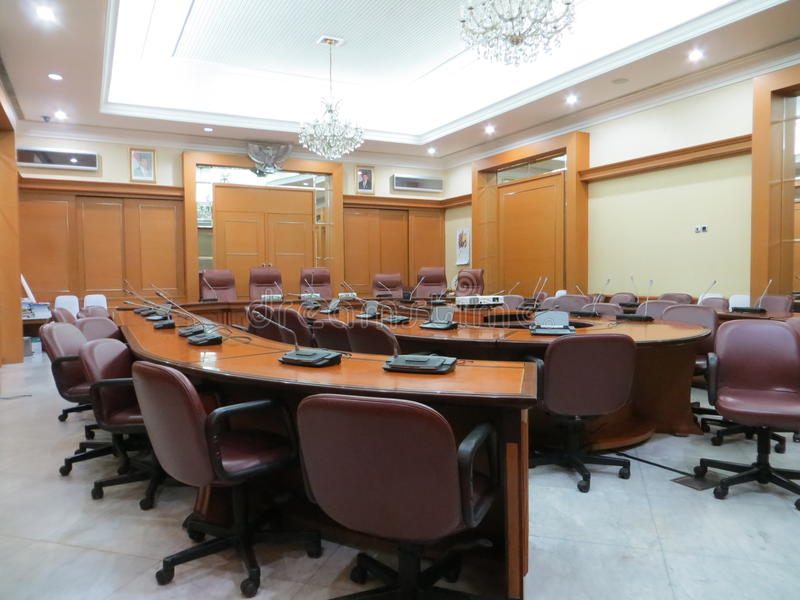 Meeting room at Jakarta City Hall. JAKARTA, INDONESIA - April 30, 2017: Meeting room at Jakarta City Hall royalty free stock photography