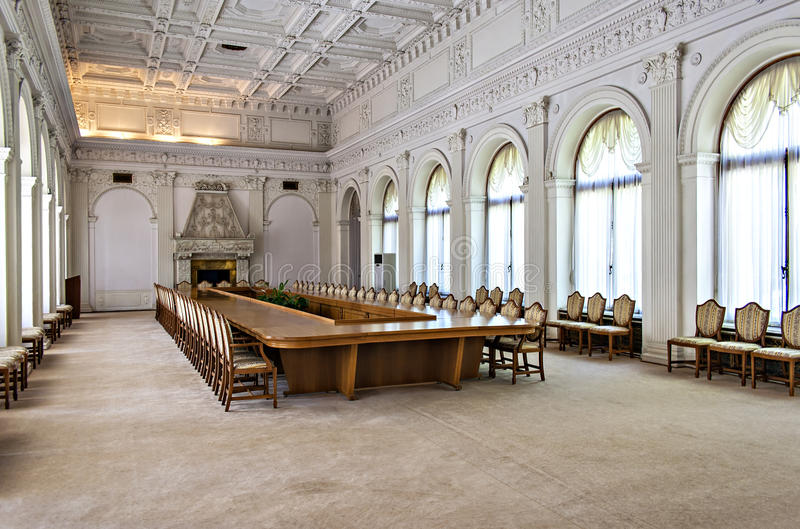 Meeting room in Livadia palace. Image of the grand meeting room inside the Livadia palace in Yalta, Ukraine stock images
