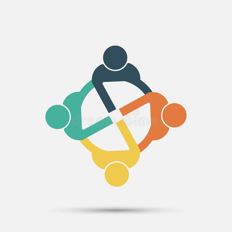 Meeting room people logo.group of four persons in circle stock illustration