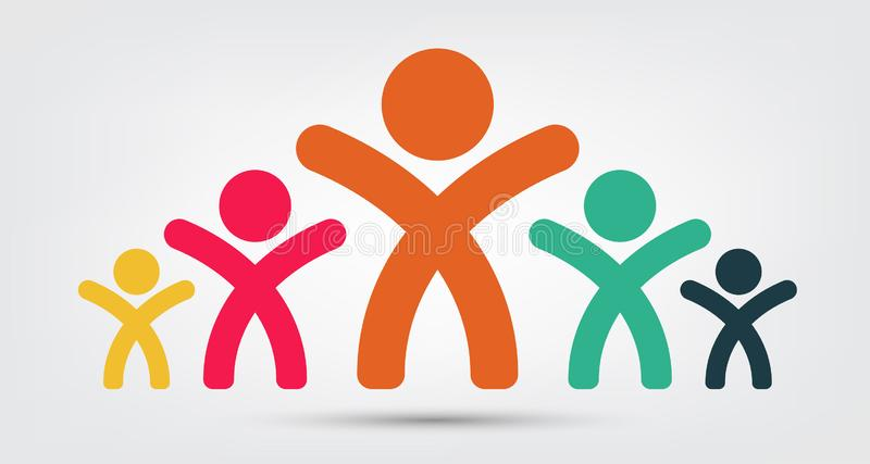 meeting room people logo.group of four persons teamwork Isolate On White Background,Vector Illustration vector illustration