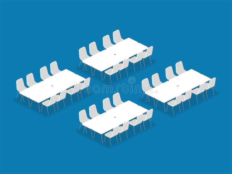 Meeting room setup layout configuration Banquet isometric style. Illustration, perspective 3d with shadow on blue color background vector illustration