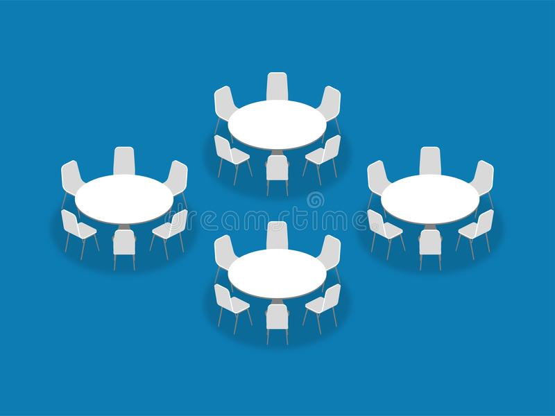 Meeting room setup layout configuration Banquet Rounds isometric. Style illustration, perspective 3d with shadow on blue color background stock illustration