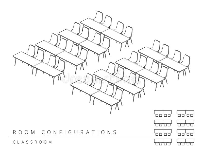Meeting room setup layout configuration Classroom style. Perspective 3d with top view illustration outline black and white color vector illustration