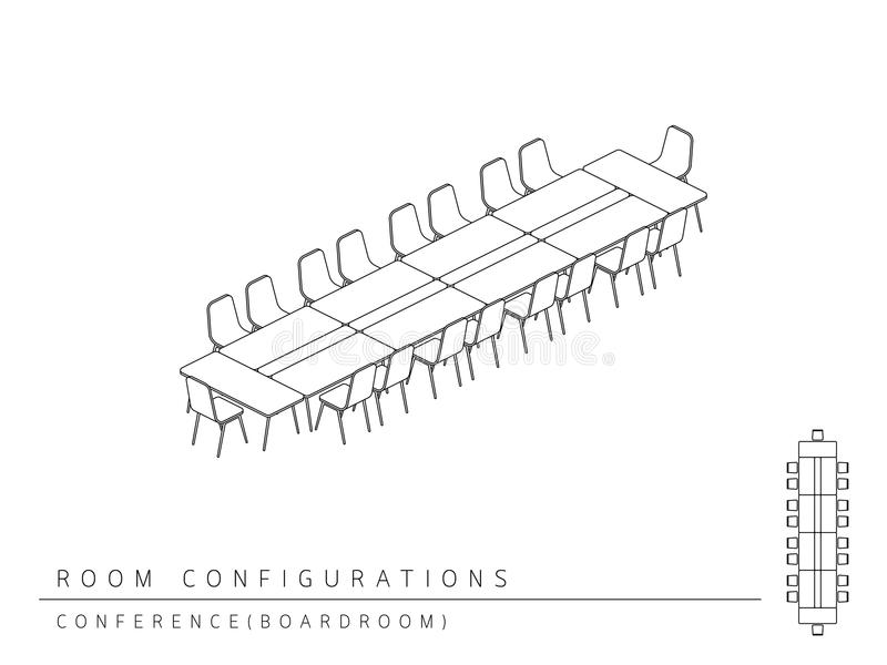 Meeting room setup layout configuration Conference Boardroom. Style, perspective 3d with top view illustration outline black and white color stock illustration