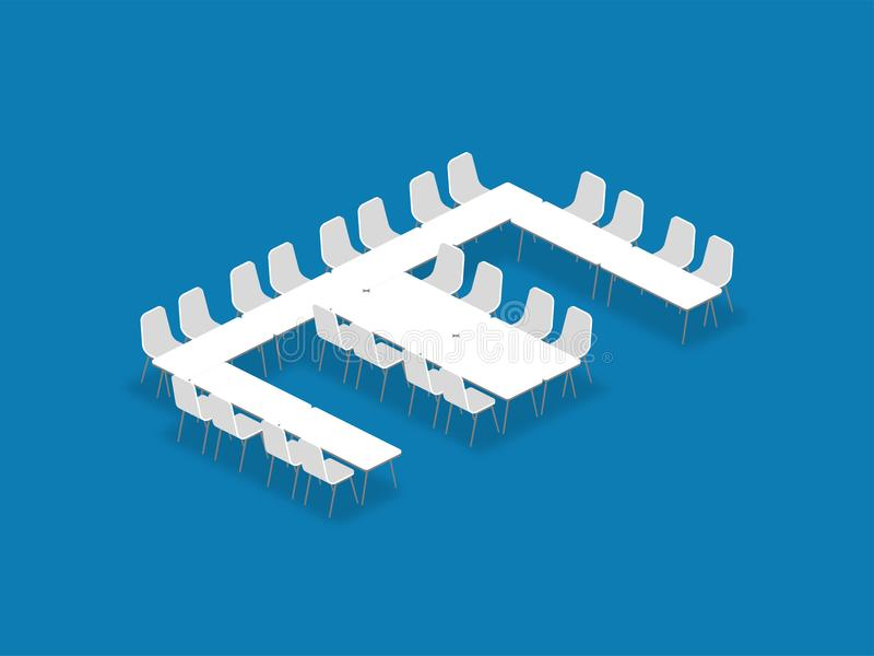 Meeting room setup layout configuration E Shape isometric style. Illustration, perspective 3d with shadow on blue color background vector illustration