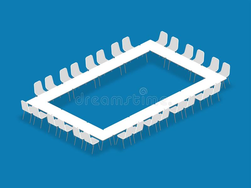 Meeting room setup layout configuration Hollow Square isometric. Style illustration, perspective 3d with shadow on blue color background stock illustration