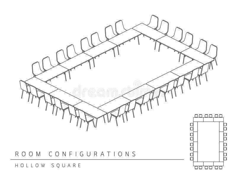 Meeting room setup layout configuration Hollow Square style, per. Spective 3d with top view illustration outline black and white color vector illustration