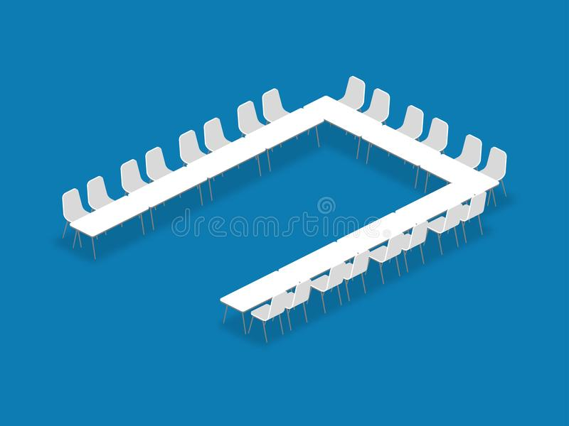 Meeting room setup layout configuration U Shape isometric style. Illustration, perspective 3d with shadow on blue color background vector illustration