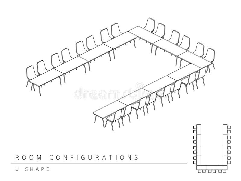 Meeting room setup layout configuration U Shape style. Perspective 3d with top view illustration outline black and white color stock illustration