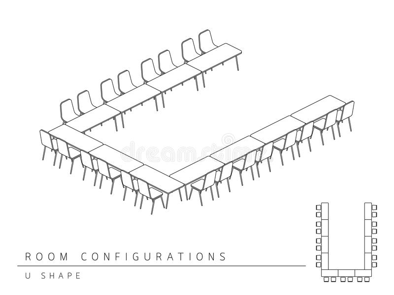 Meeting room setup layout configuration U Shape style. Perspective 3d with top view illustration outline black and white color vector illustration