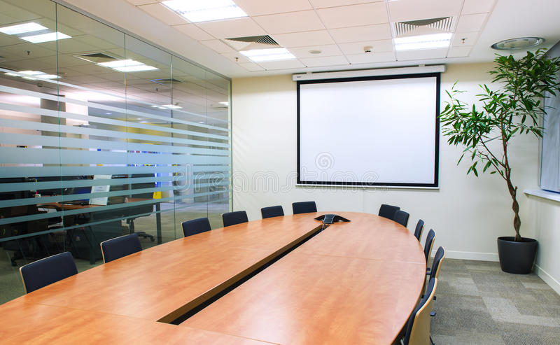 Meeting room with TV projector royalty free stock photos