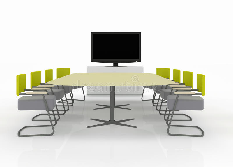 Meeting room with TV on a white backgroun. Meeting room at the office with TV isolated royalty free illustration