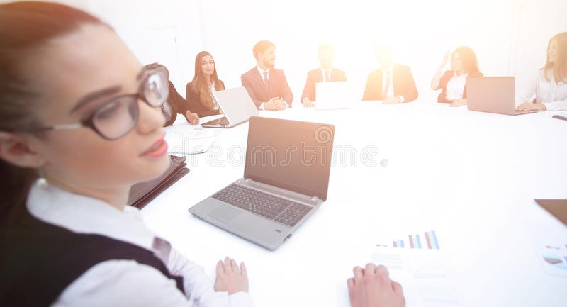Meeting of shareholders of the company at the round - table. royalty free stock photo