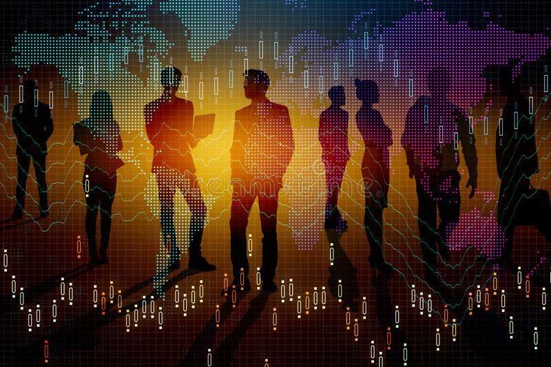 Meeting and stock concept. Businesspeople silhouettes with forex chart standing on abstract colorful background. Meeting and stock concept. Double exposure vector illustration
