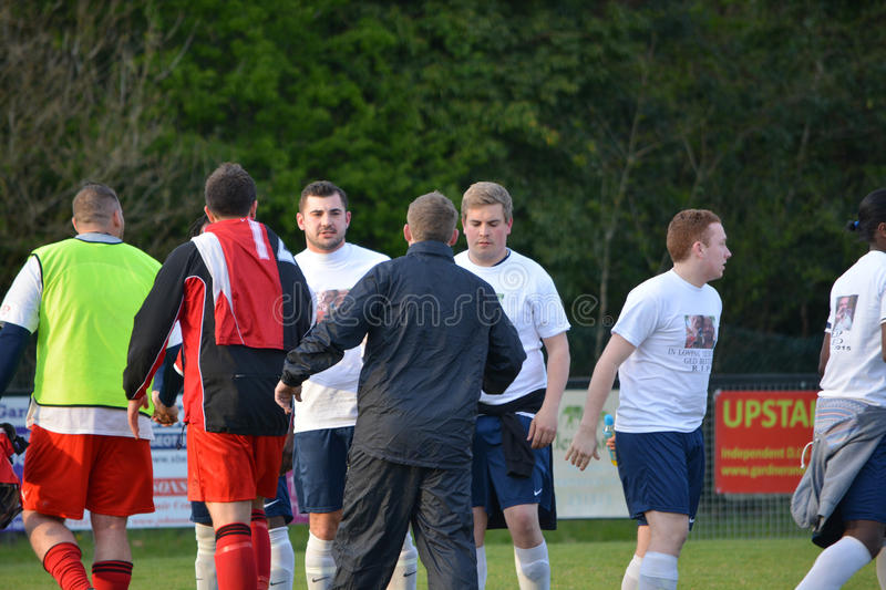 Meeting the Team. Cuckfield managers meet the AFC Haywards team at the AFC Haywards Vs Cuckfield cup final football match, `Tester Challenge Cup` at Burgess Hill stock photo