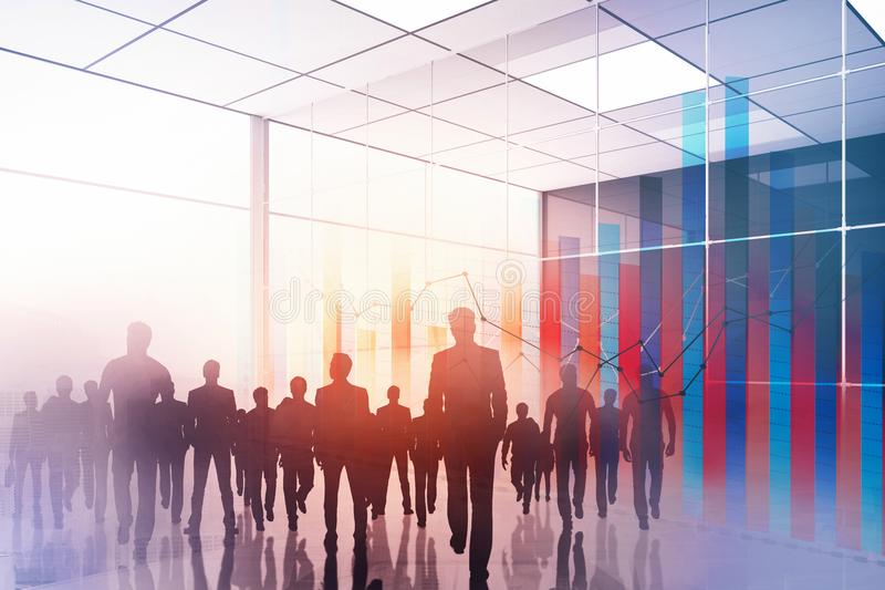 Meeting, teamwork and finance concept. Creative walking crowd silhouettes background. Meeting, teamwork and finance concept. Double exposure royalty free stock photos