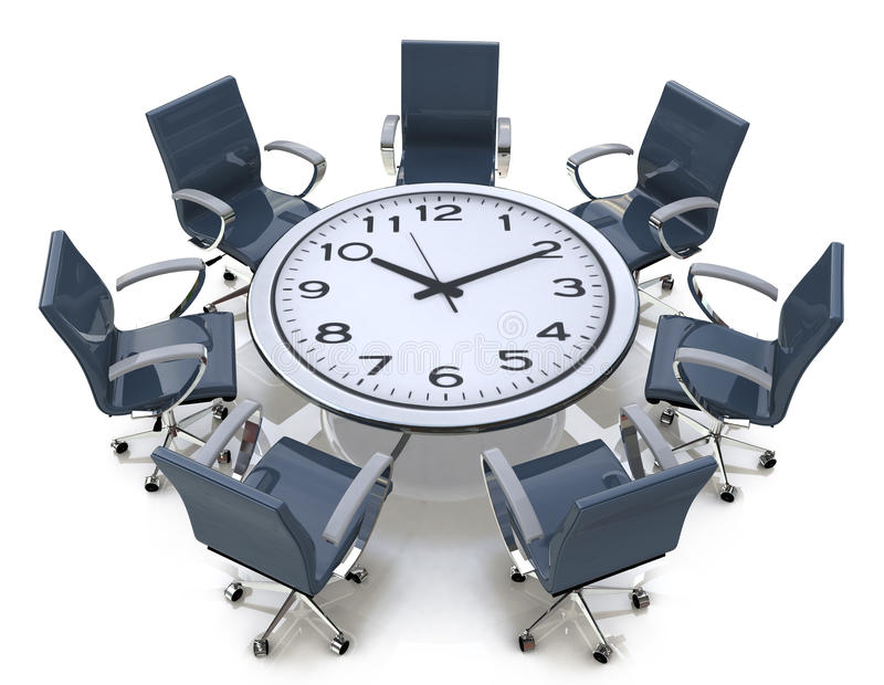 Meeting time - round table with a large clock face stock illustration