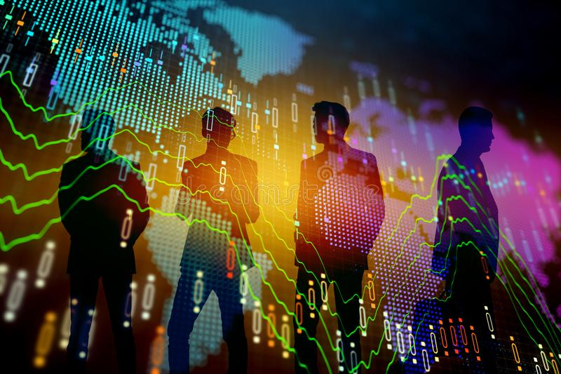 Meeting and trade concept. Businesspeople silhouettes with forex chart standing on abstract colorful background. Meeting and trade concept. Double exposure vector illustration